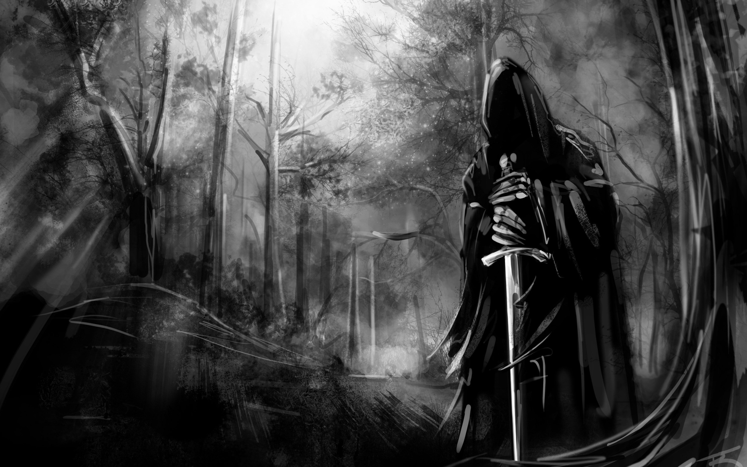 Black and white death forest gothic swords wallpaper background 2560x1600