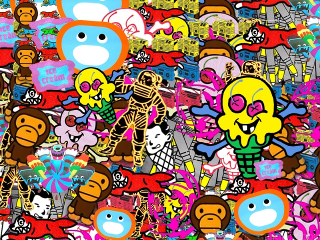 Bape Collage Wallpapers Ice Cream Bape Collage HD Wallpapers 640x480