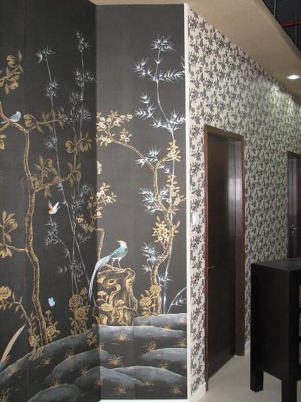 China Hand Painted Wallpaper CHINOISERIE 42   China Wallpaper 600x800