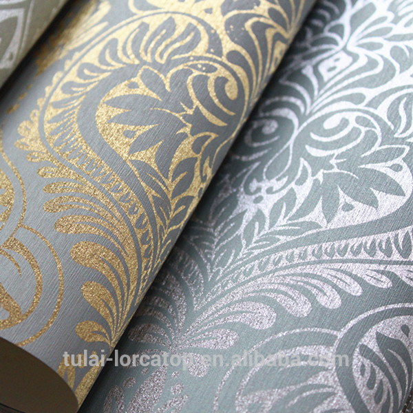 The Metallic Foil Gold Silver Printing Shining Wallpaper For Living 600x600