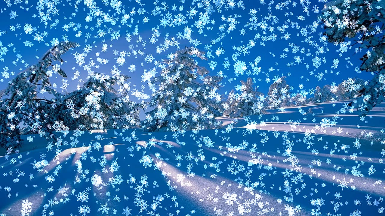 snow on your desktop blue sky trees covered with snow animated falling 1280x720