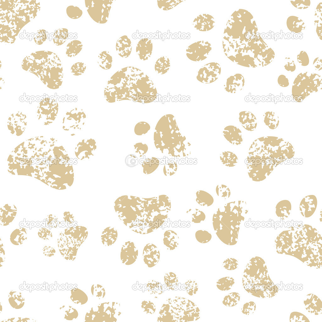 Cat Paw Print Background Cat or Dog Brown Paw Prints on 1024x1024