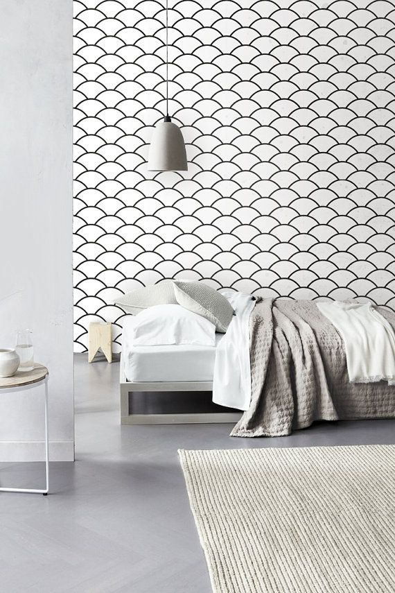 Geometric Scallop Pattern Self Adhesive Vinyl Wallpaper Z039 570x855