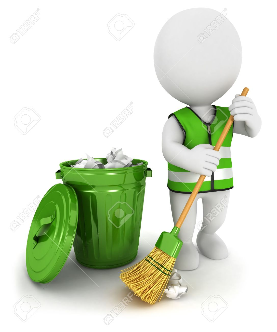 3d White People Street Sweeper And A Trash Can Isolated White 1087x1300
