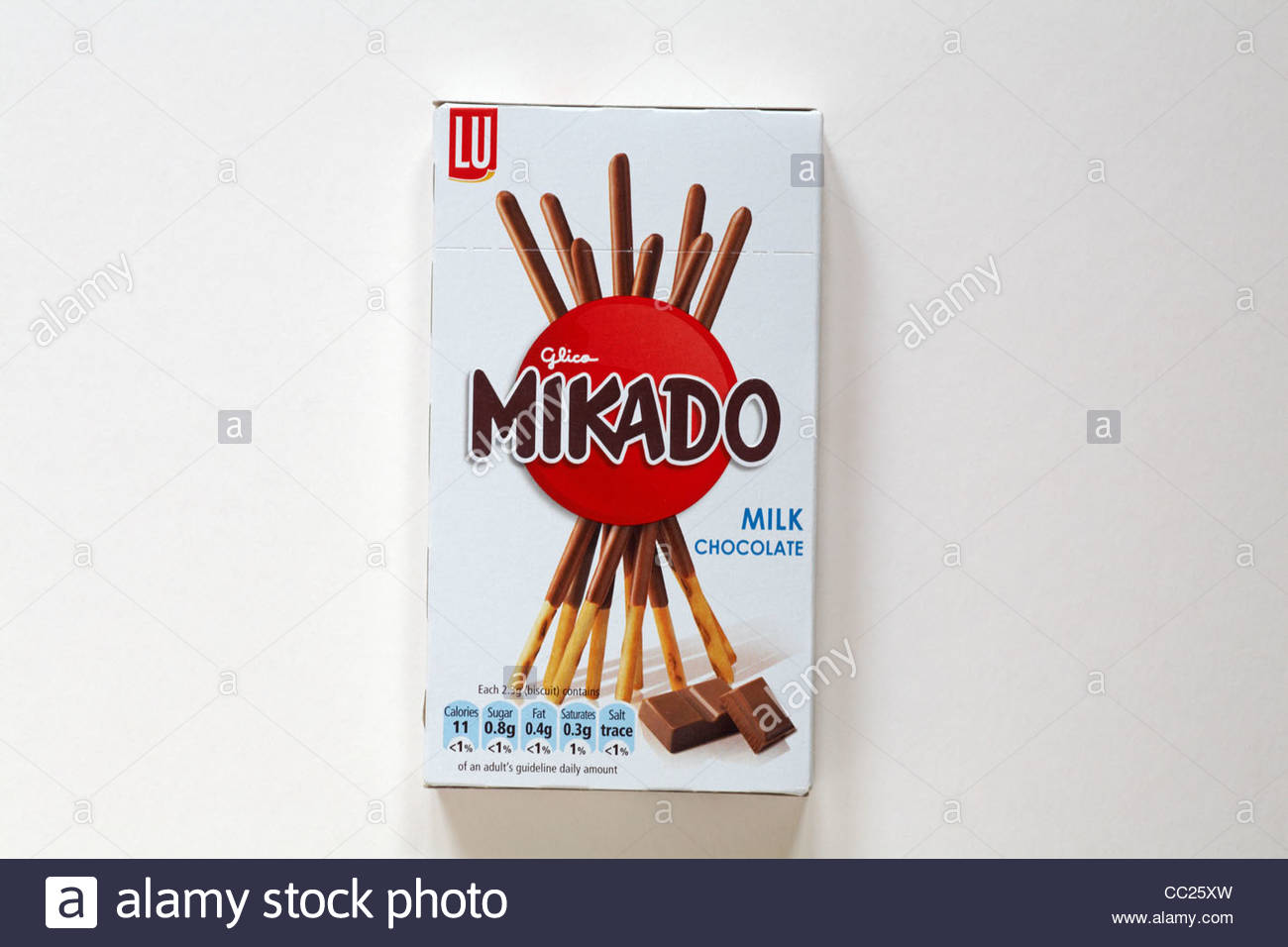 Box of unopened Lu Glico Mikado milk chocolate biscuits isolated 1300x956