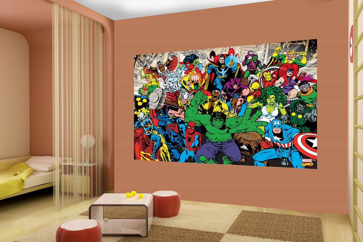 Marvel wallpaper for boy room wallpapersafari for Boys mural wallpaper