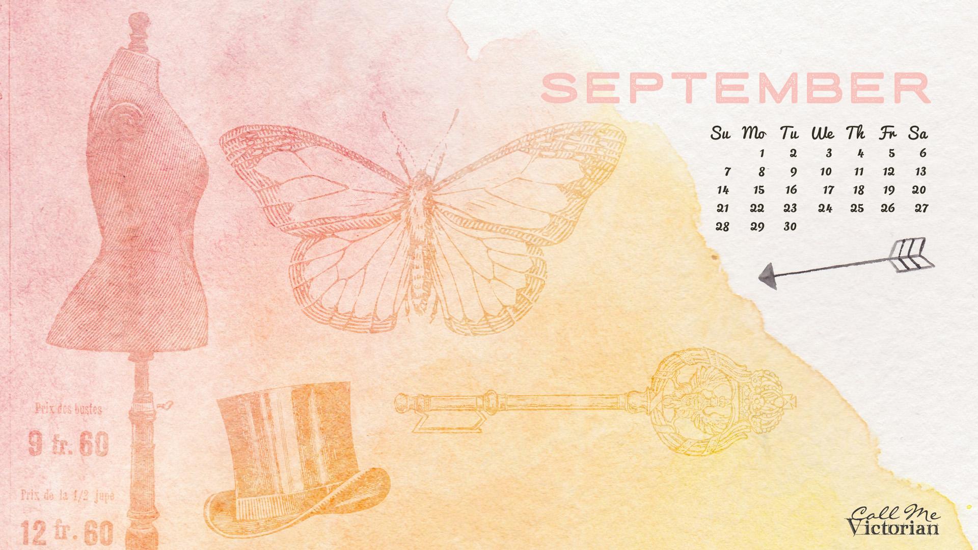 September 2014 Desktop Calendar Wallpaper Call Me Victorian 1920x1080