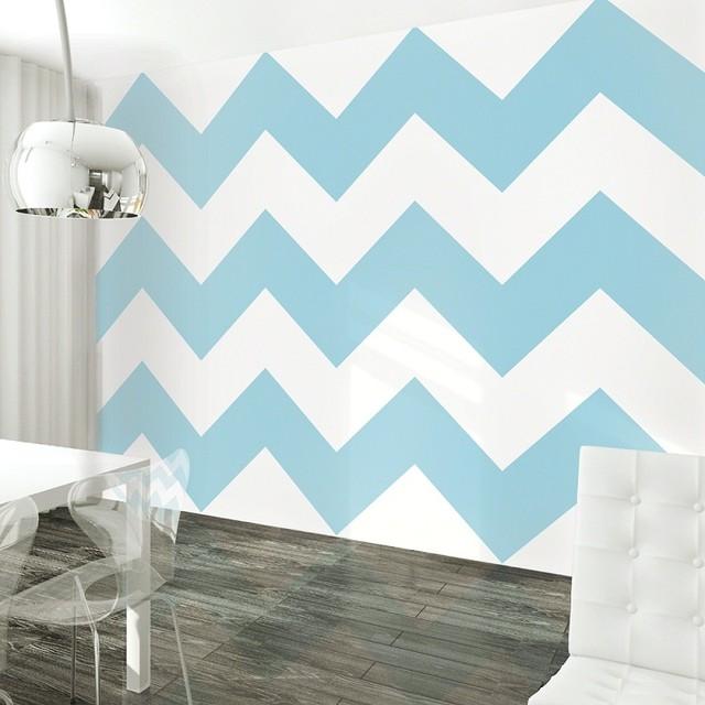 Chevron AquaWhite Removable Wallpaper   Contemporary   Wallpaper   by 640x640
