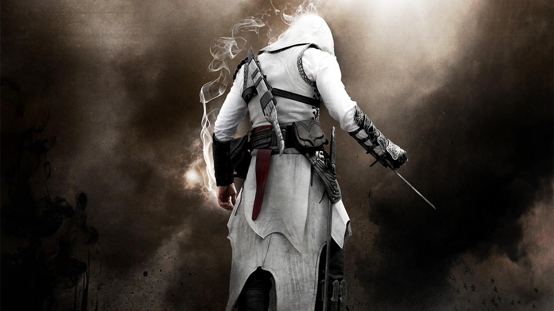 Assassins Creed assassins creed game gray knife smoke 1920x1080