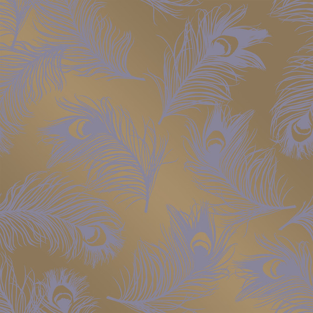 Feathers Hollywood Regency Gold Lavender Removable Wallpaper classique 640x640
