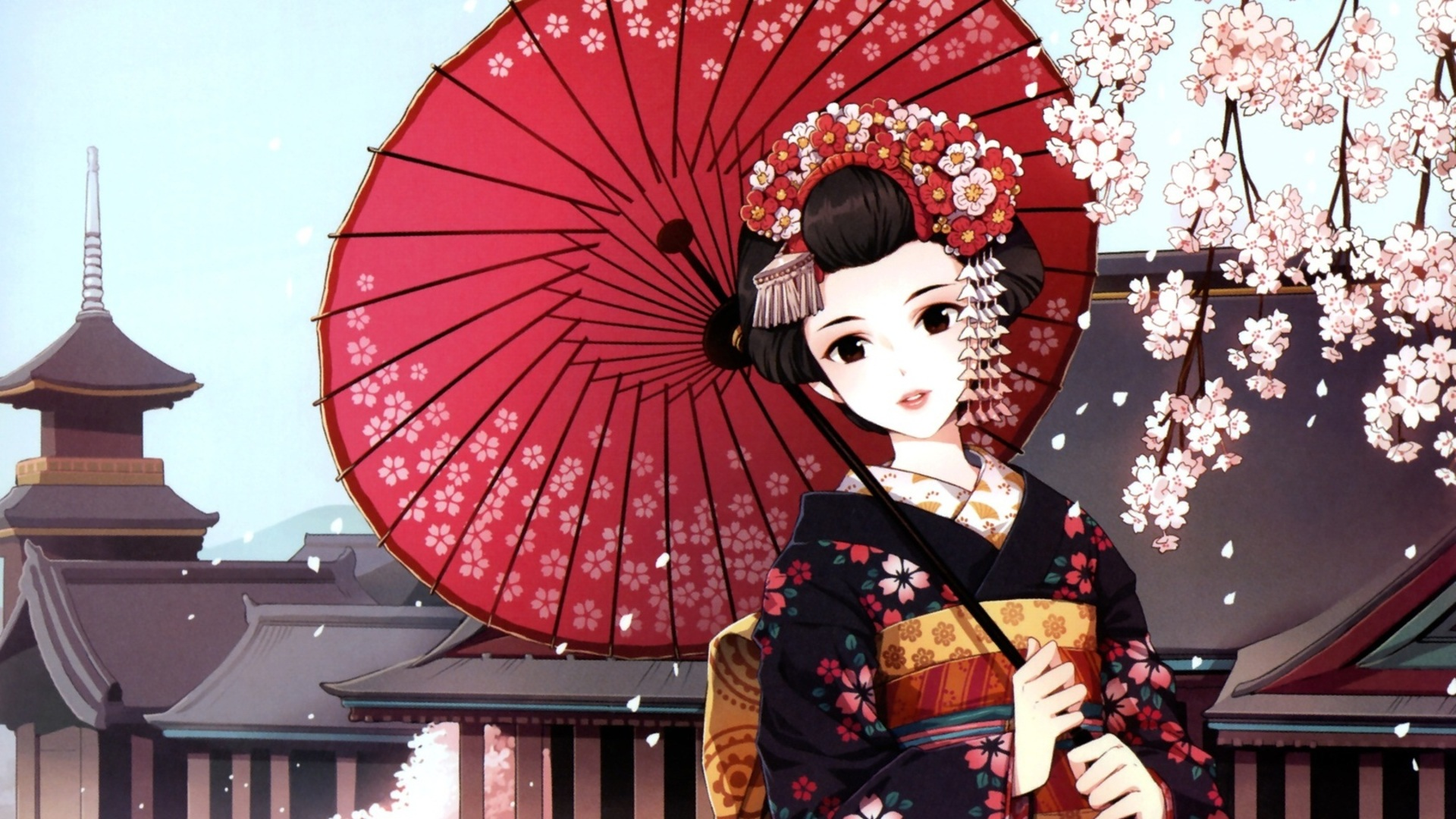 Japanese Geisha Art Wallpaper 20567 Wallpaper Wallpaper hd 1920x1080