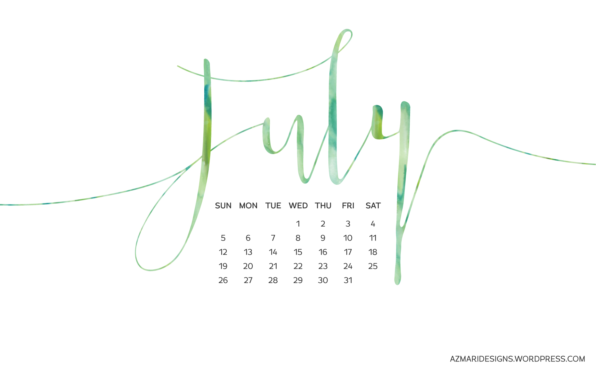 July 2015 Desktop Wallpaper Calendar Azmari Designs 1920x1200
