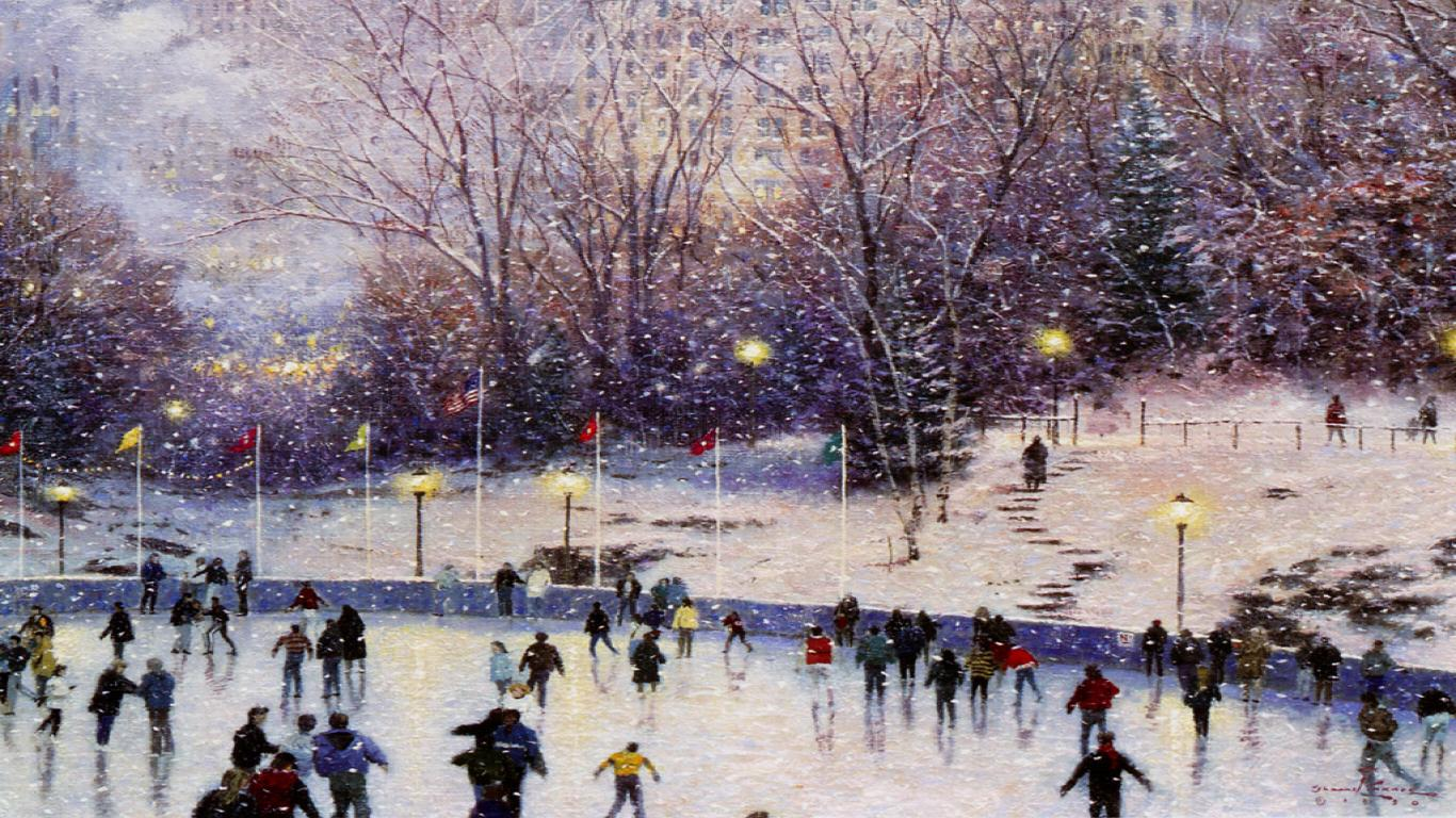 christmas snow scene1366x76835652 Christmas Snow Scene Download 1366x768