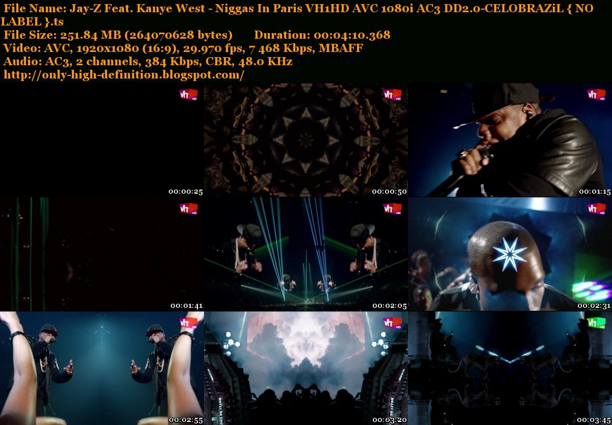 Only High Definition Jay Z Feat Kanye West   Niggas In Paris VH1HD 1200x834