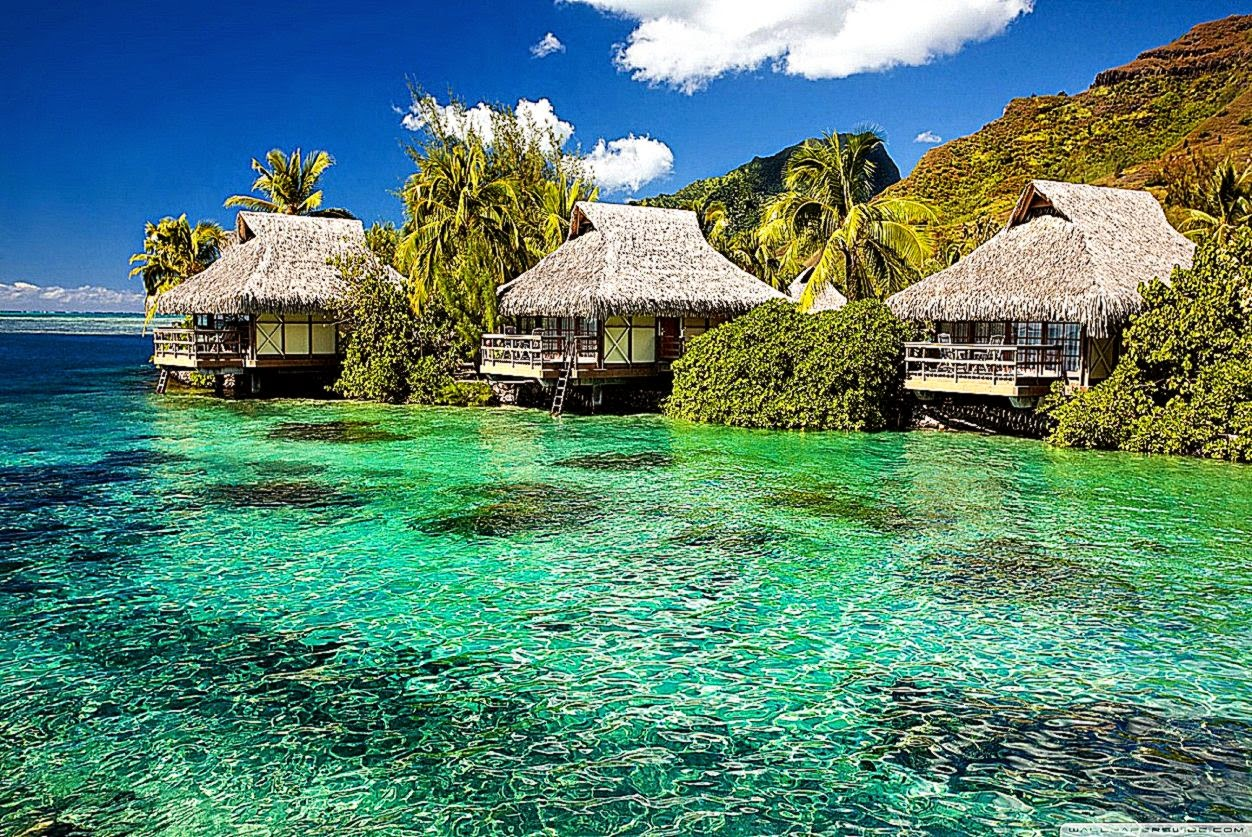 Water Bungalows On A Tropical Island HD desktop wallpaper High