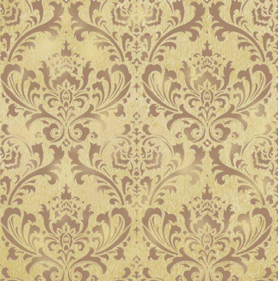 STENCIL DAMASK BROCADE PATTERN 24X26 Wallpaper Stenciling Wall Decor 570x575