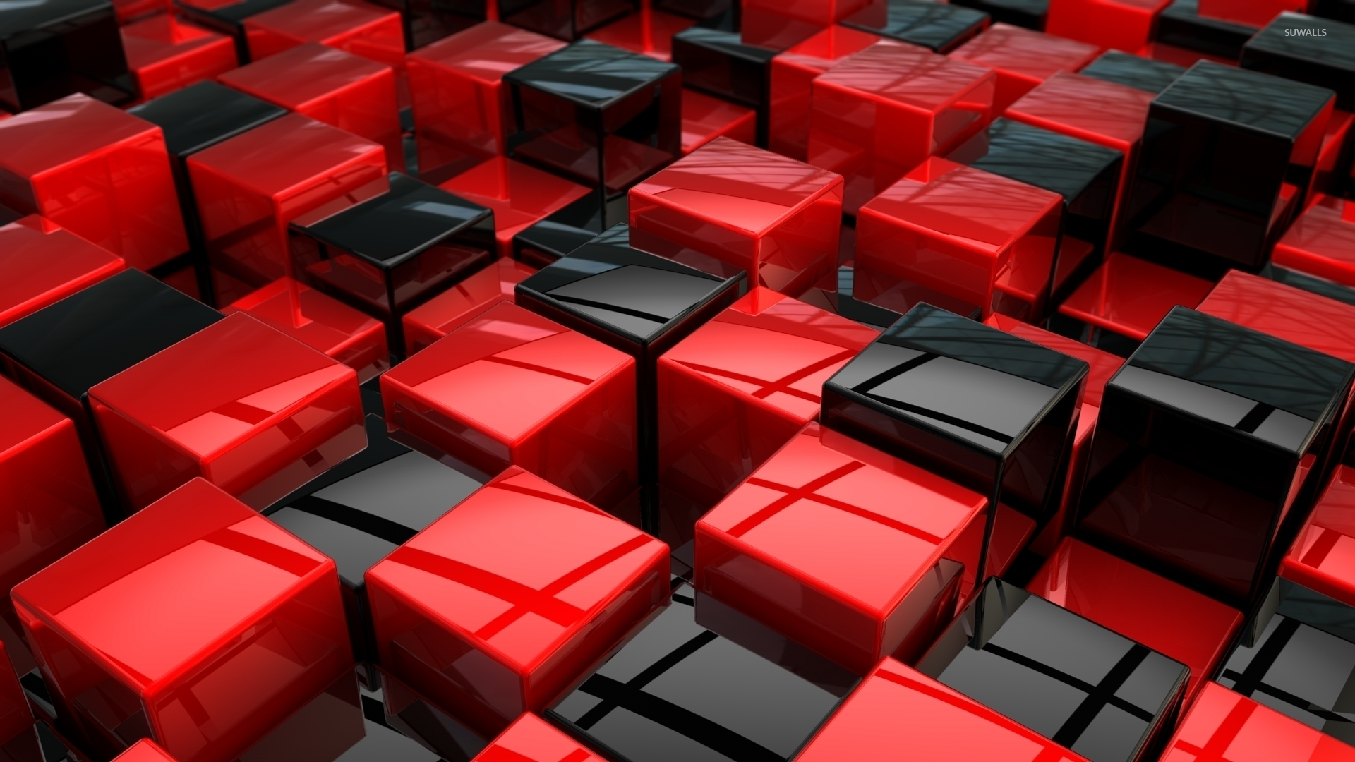 Red and black cubes wallpaper   3D wallpapers   33140 1920x1080