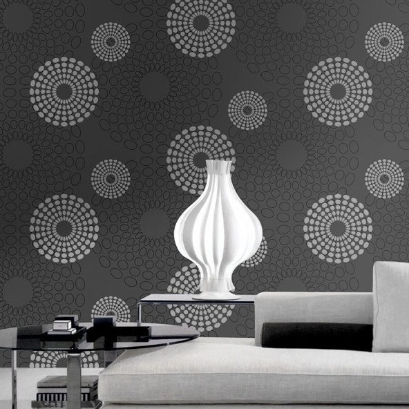 Pattern Black and white Wallpaper Design Geometric Non woven Wallpaper 592x592