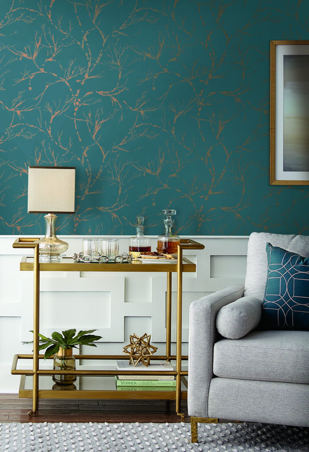 White Pine Wallpaper in Teal from Masterworks Collection by Ronald 1000x1460