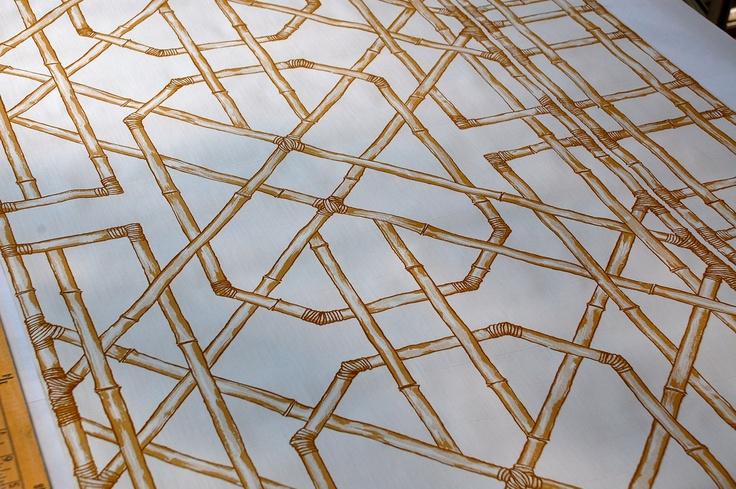 bamboo trellis lattice vinyl wallpaper Prints and Patterns Pint 736x489