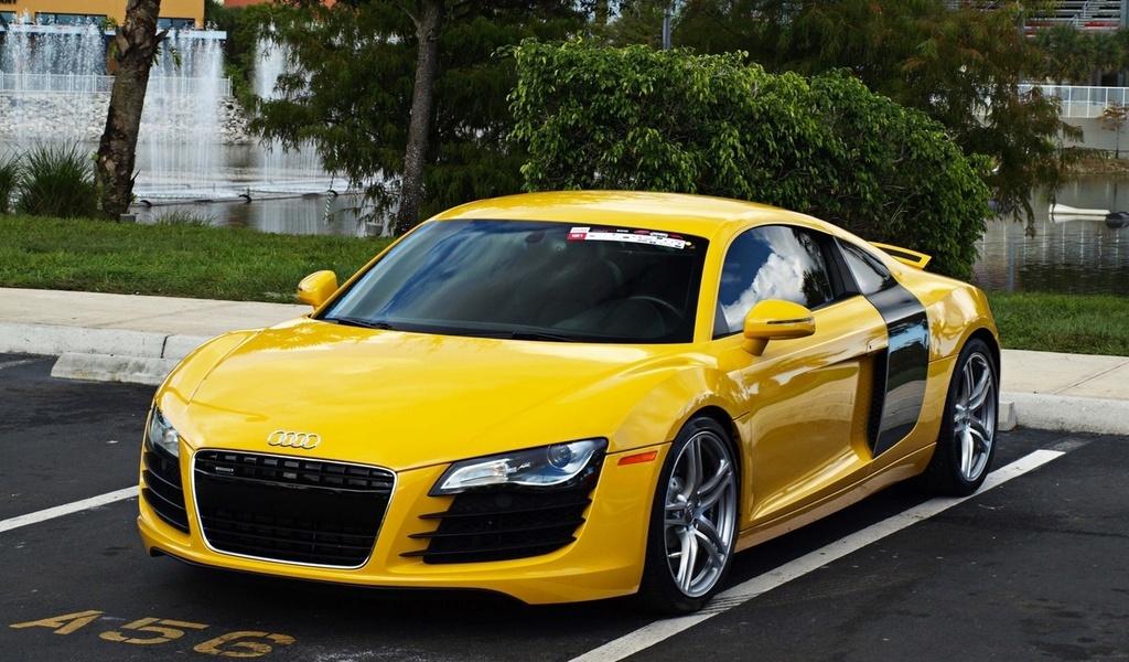 papel de parede audi r8 amarelo supercar Audi automvel carro 1024x600