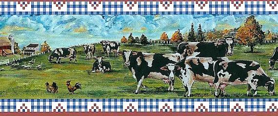 Farm Scene Wallpaper Border Cows Pasture by TheLoveofWallpaper 570x238