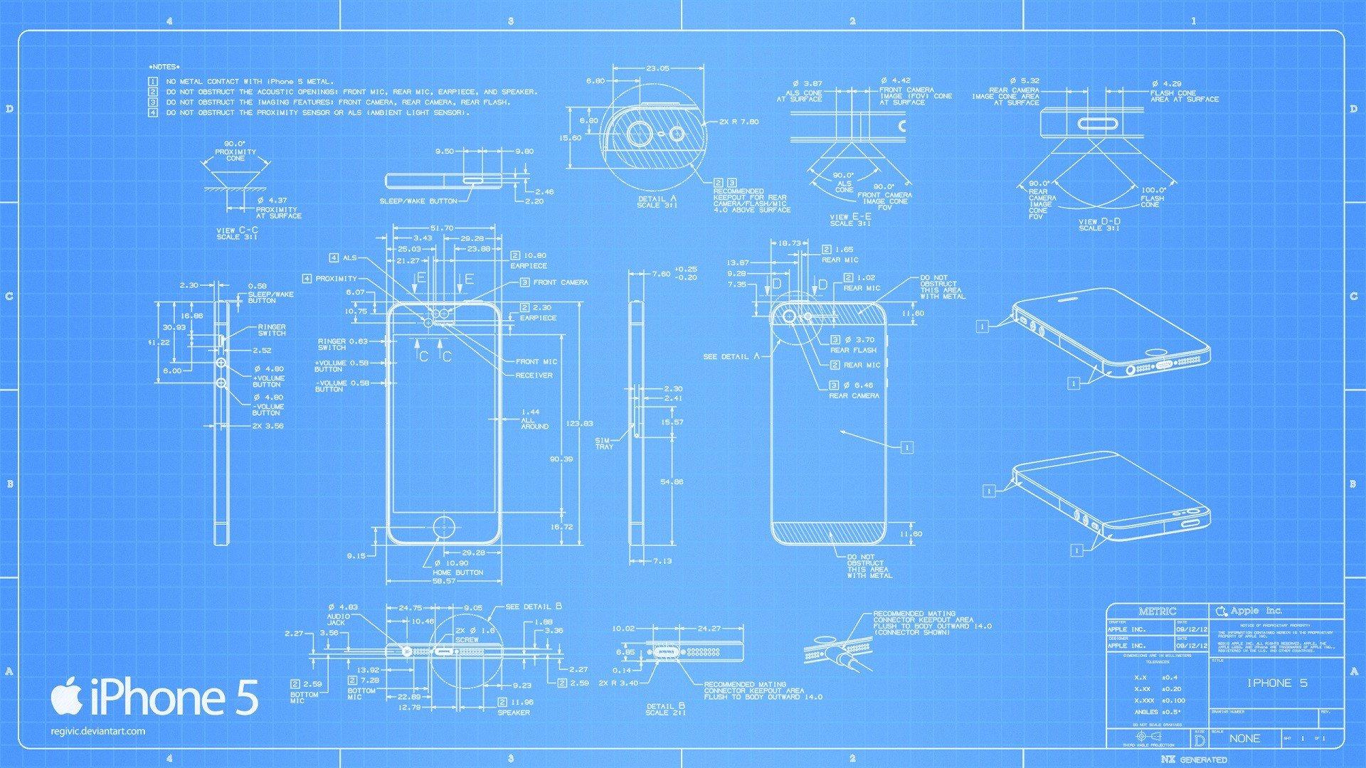 DeviantART blueprints iPhone 5 wallpaper background 1920x1080