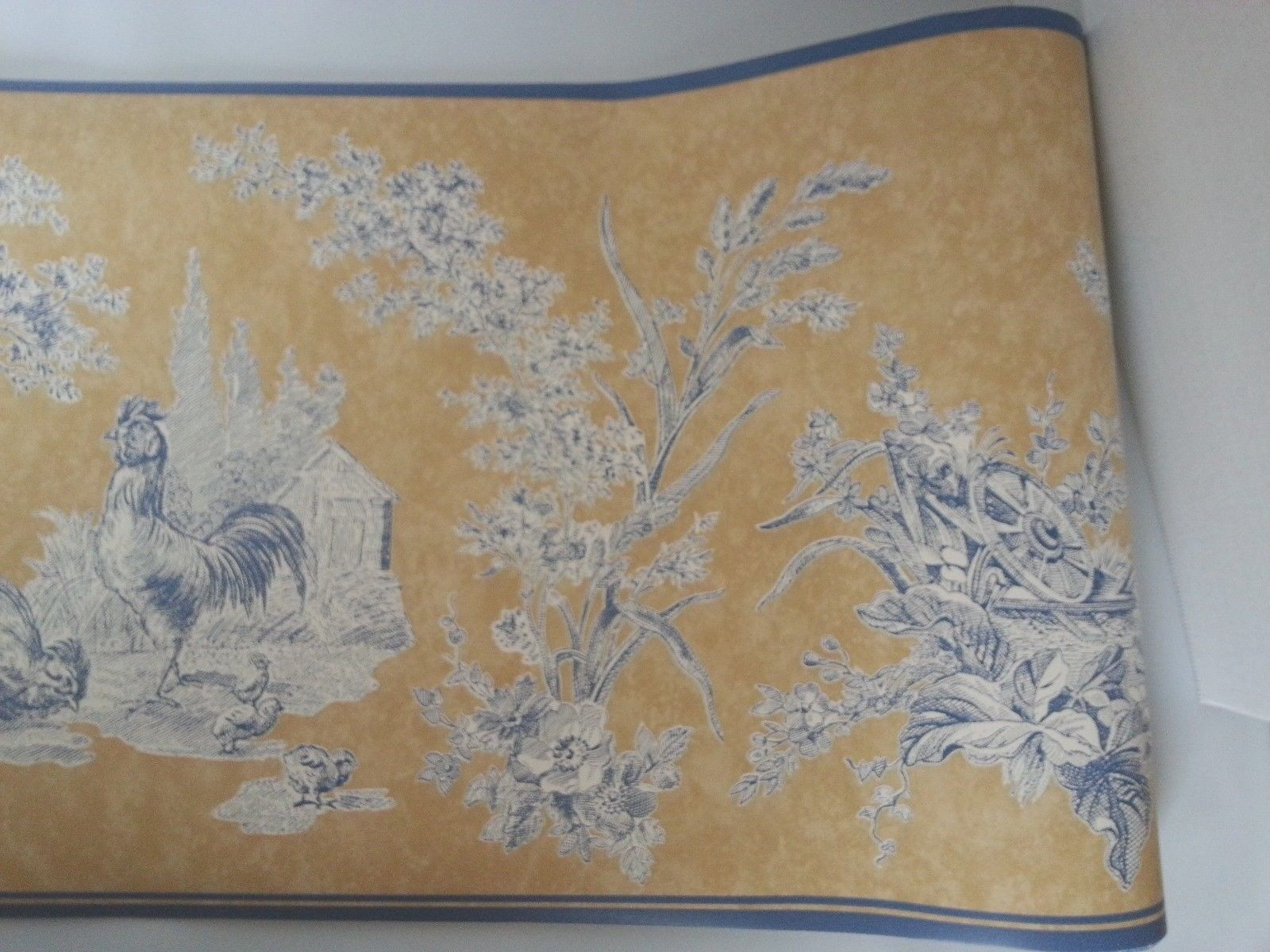 Waverly Wallpaper Border French Toile Country Rooster Blue Beige 1600x1200