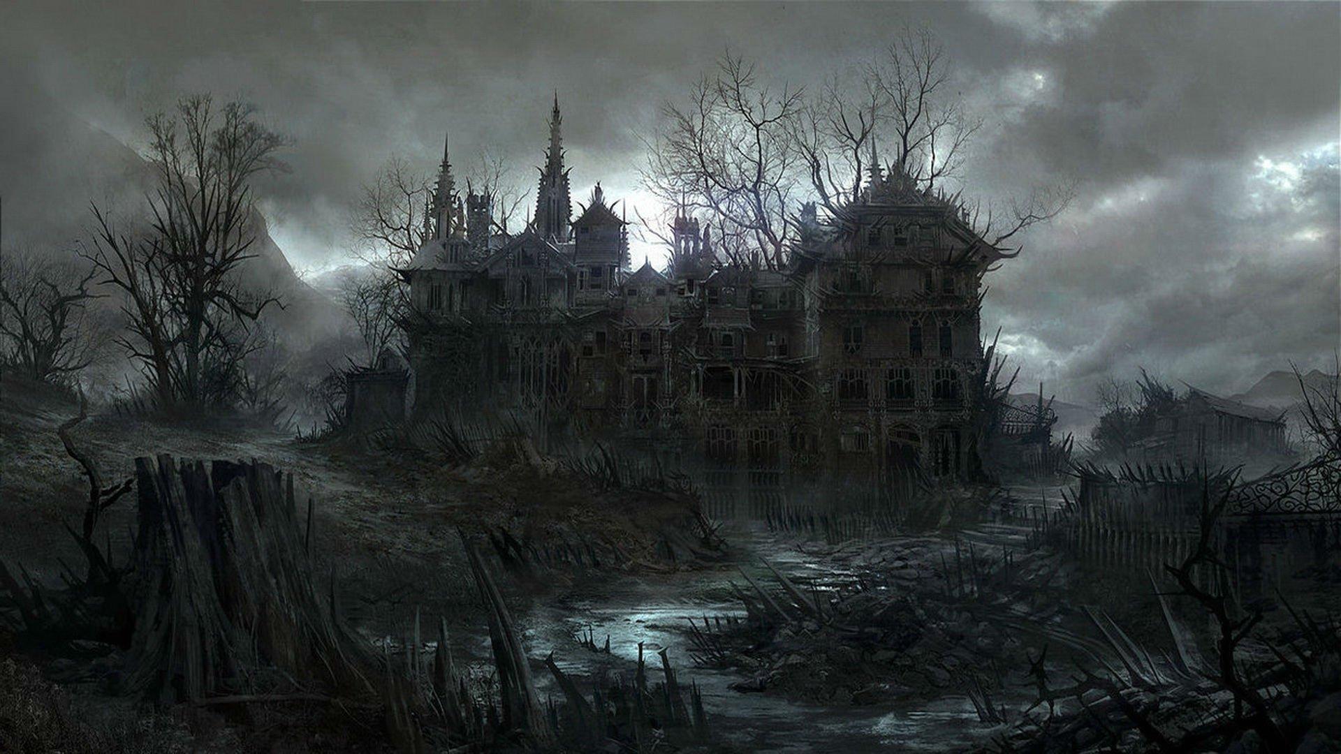 HALLOWEEN dark haunted house spooky wallpaper background 1920x1080