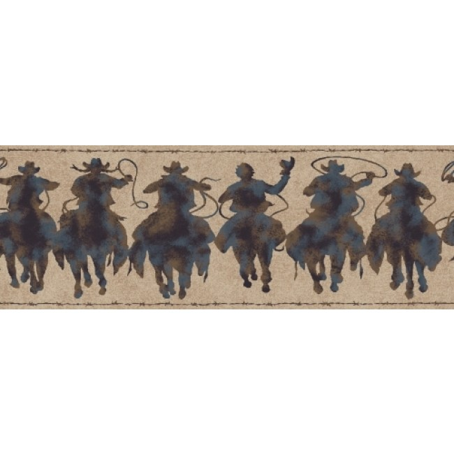 Western Rodeo Cowboy Patina Silhouette Riders Wallpaper Border   All 4 650x650