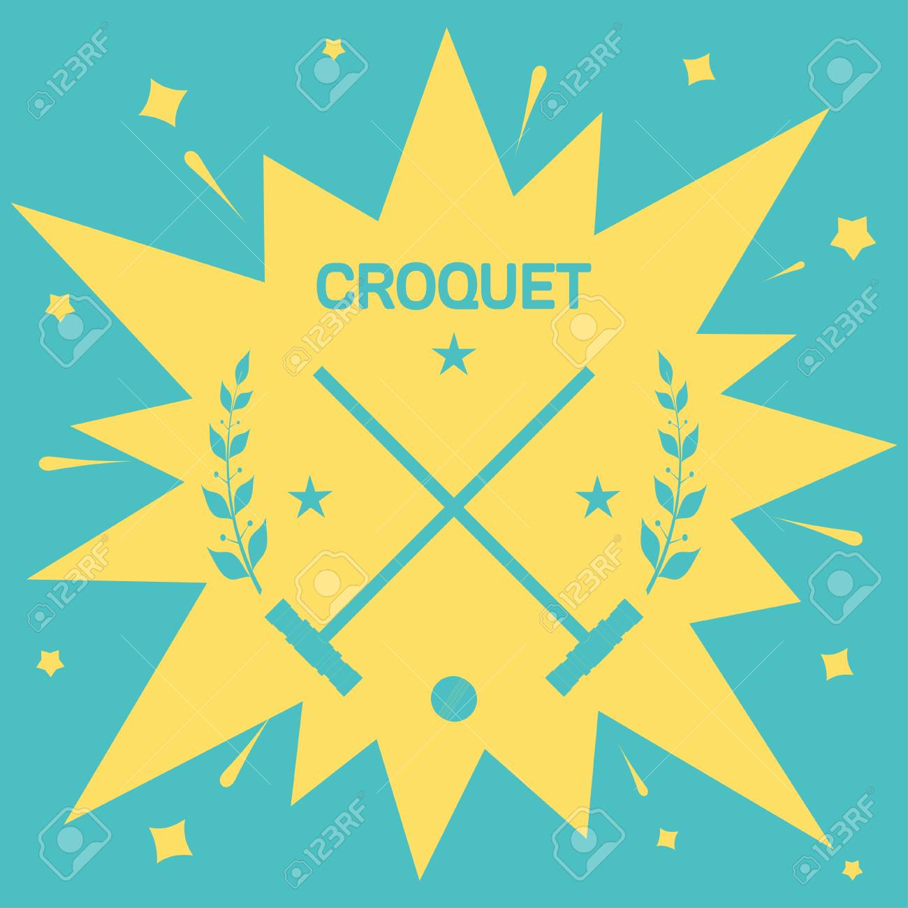 Croquet Vintage Background With Clubs And Ball For Croquet 1300x1300