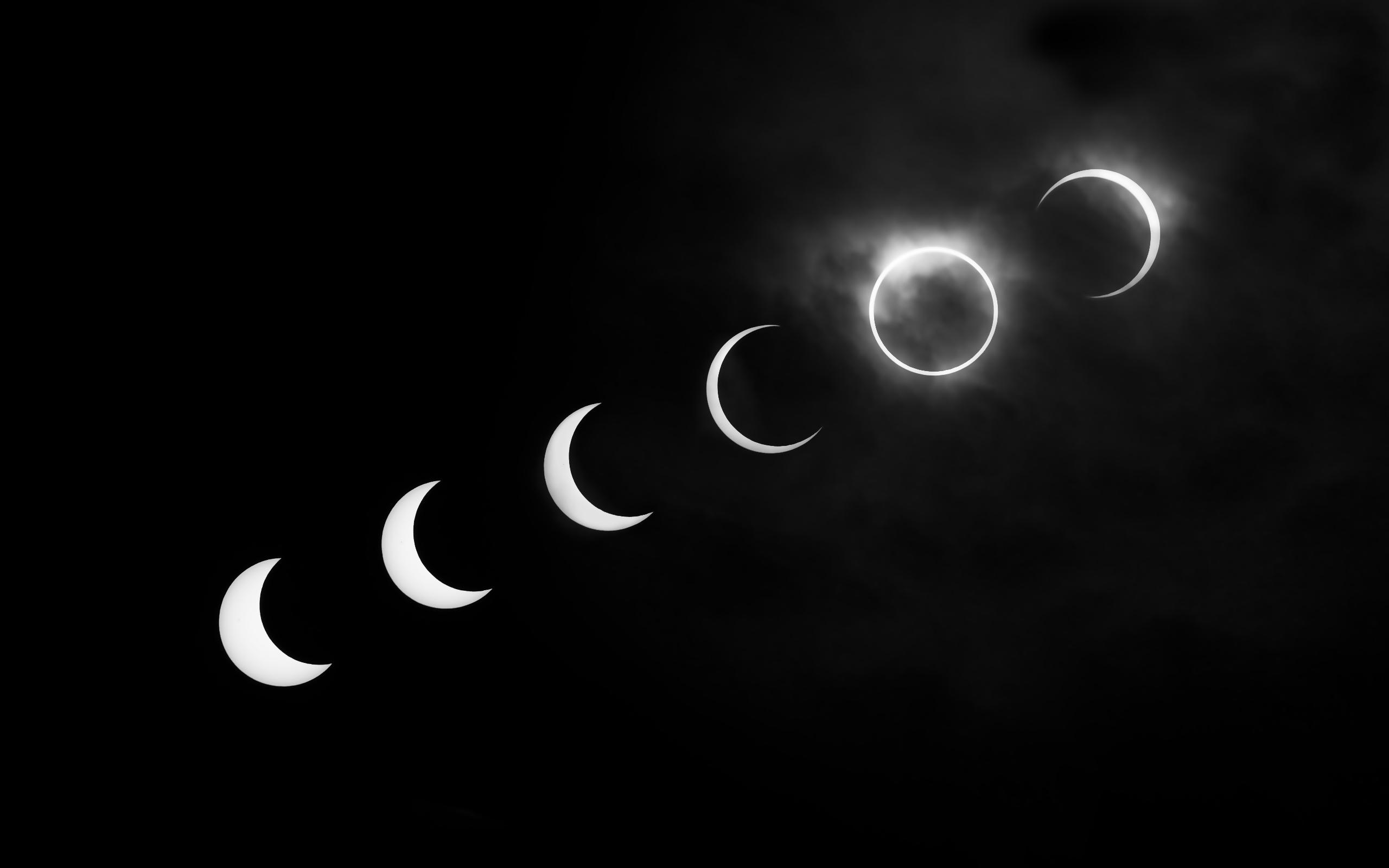 Solar eclipse black and white desktop wallpaper 2560x1600