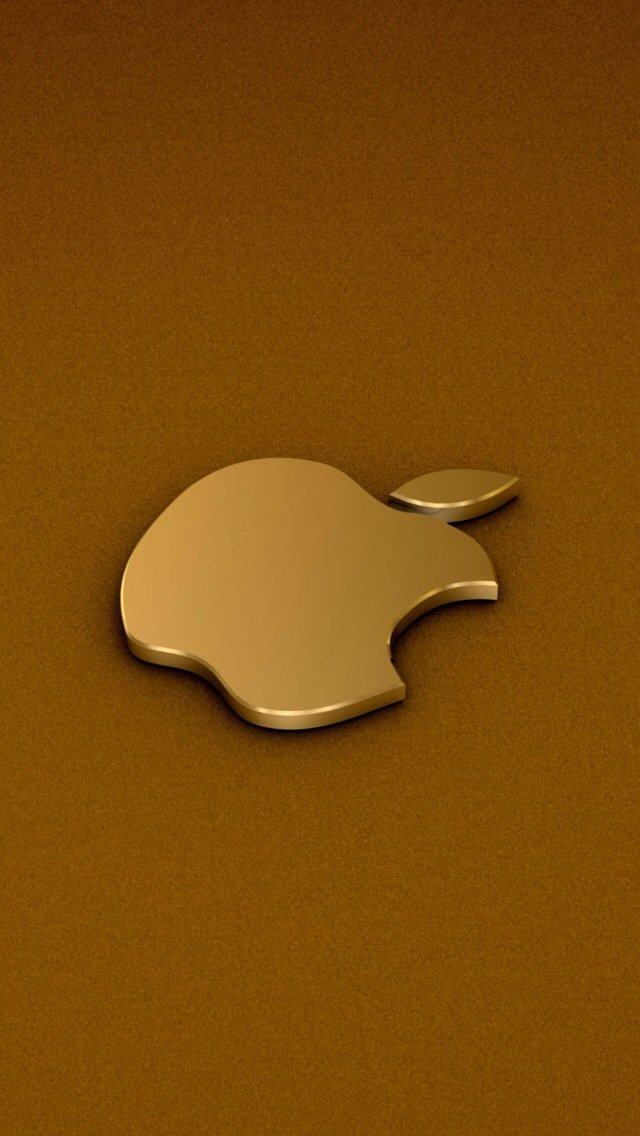 iPhone 5 Wallpaper Apple logo gold 640x1136