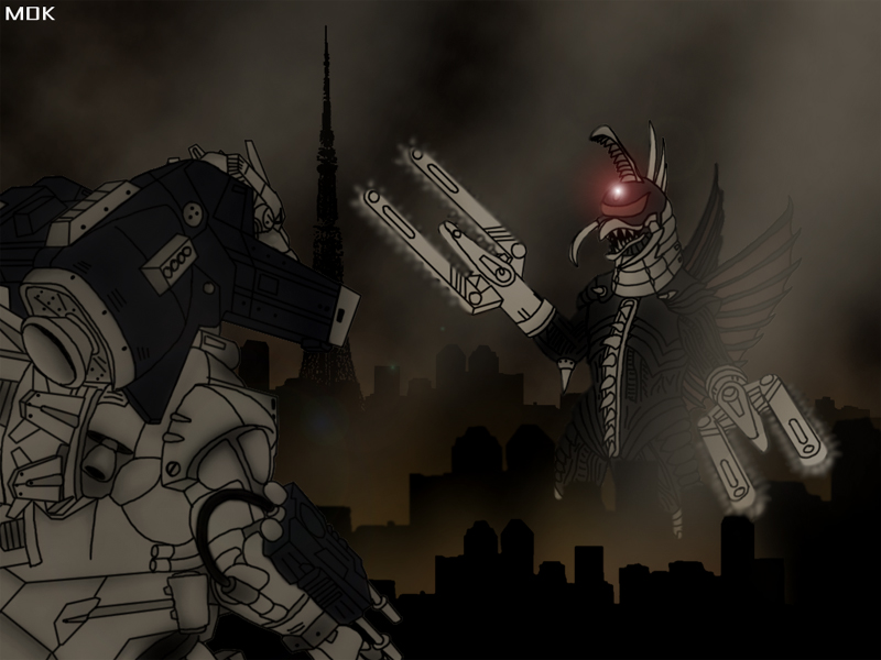 Mechagodzilla vs Gigan by Mecha Potato Alex 800x600