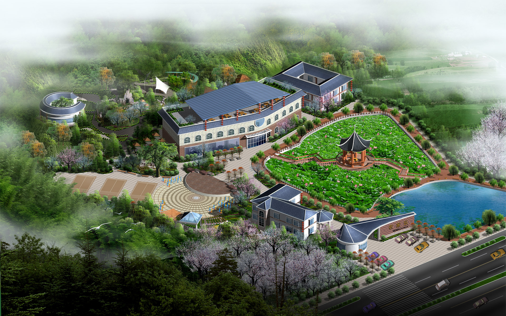 Effect of the second series of landscape architecture 16086   Building 1920x1200