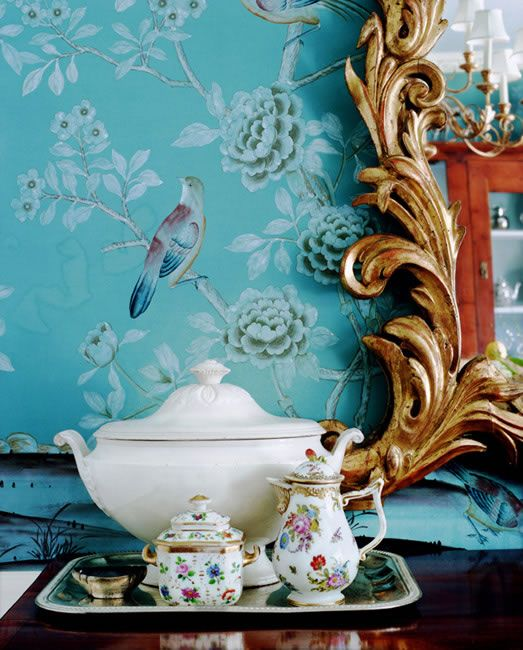 Home Decor   Chinoiserie   Turquoise blue chinoiserie wallpaper with 523x650