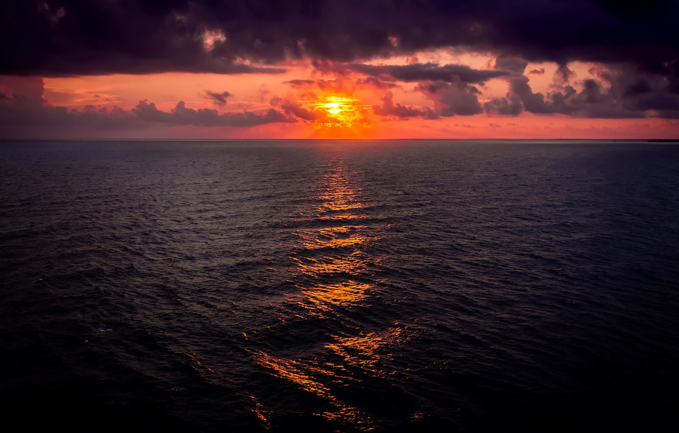 Wallpaper fireball sea ocean seascape clouds morning sun 1332x850