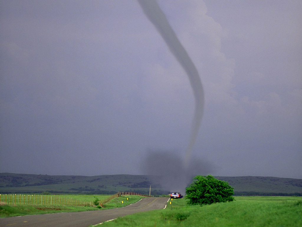 Tornadoes Tornado Touching Down By Country Road 1024x768