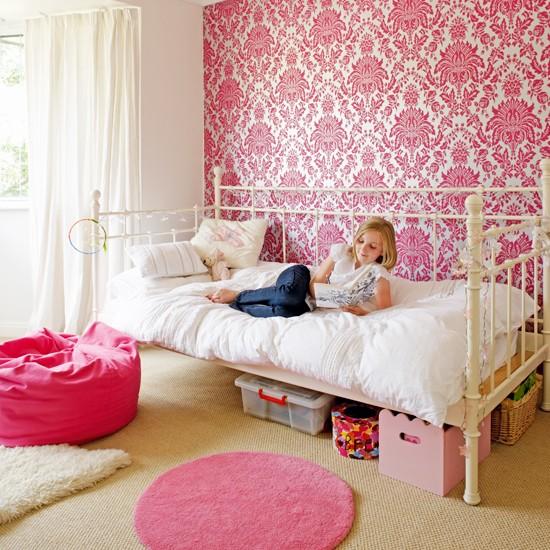 Pink Wallpaper For Bedrooms Childrens bedroom 1930s 550x550
