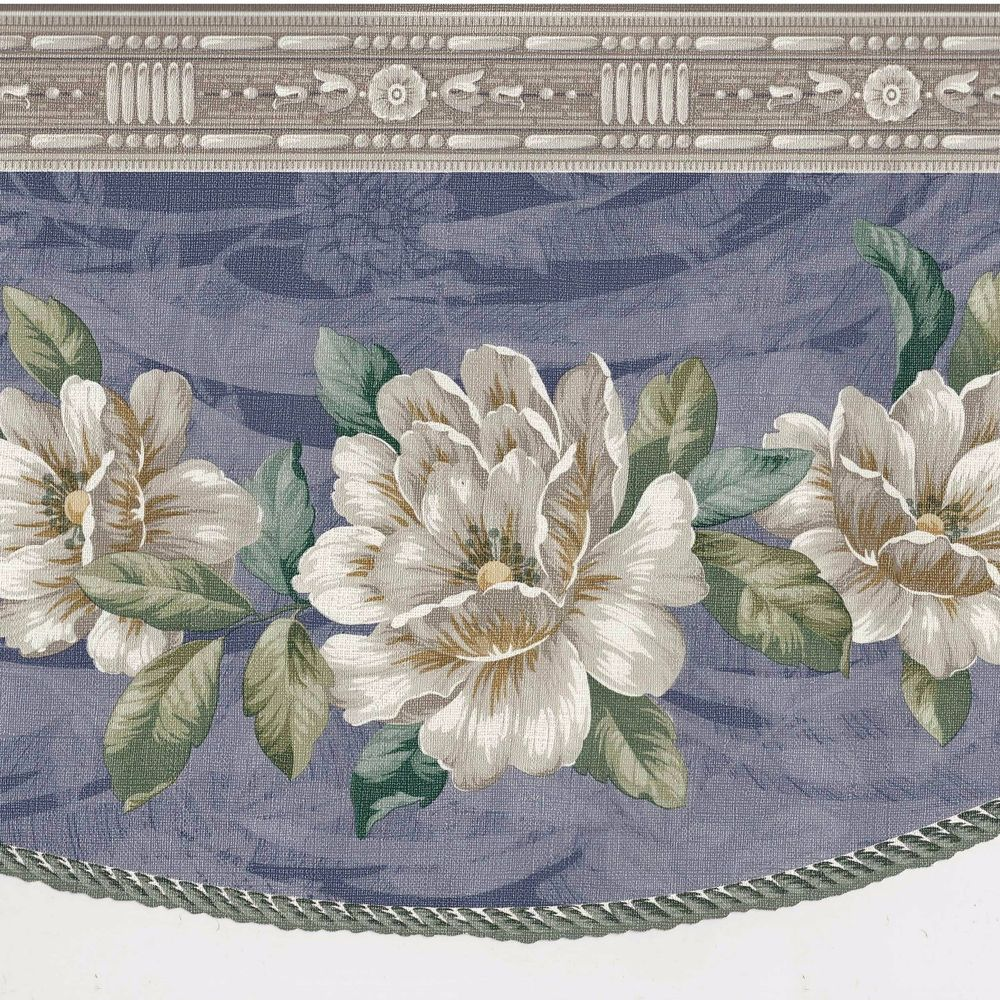 Magnolia Flowers Soft Grey Blue Swag Draping Wallpaper Border B035 1000x1000