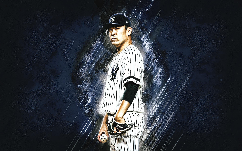Download wallpapers Masahiro Tanaka MLB New York Yankees blue 2880x1800
