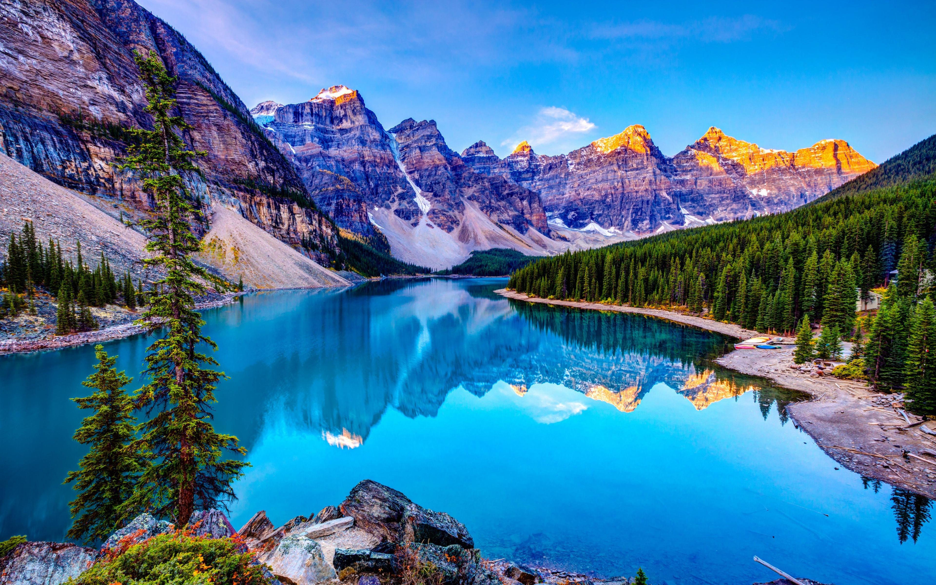 Download HD Mountains Sky Blue Lake Reflection Clouds Wallpaper 3840x2400