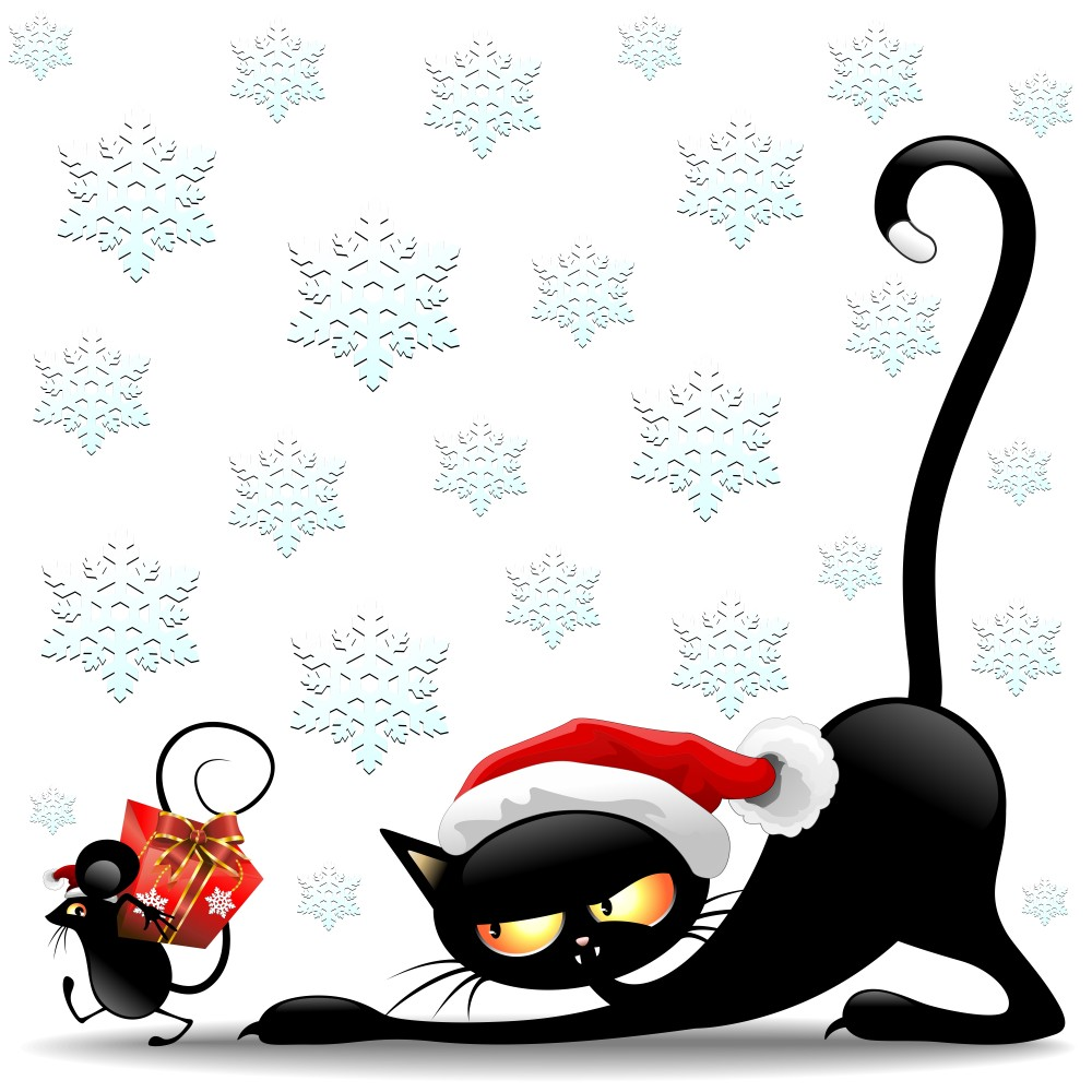 Cartoon Cat Fotos   Funny Christmas Cat Cartoon Wallpaper 1000x1000