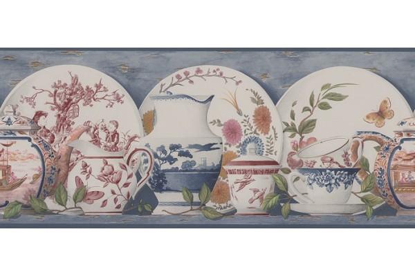 Home Grey China Toile Wallpaper Border 600x400