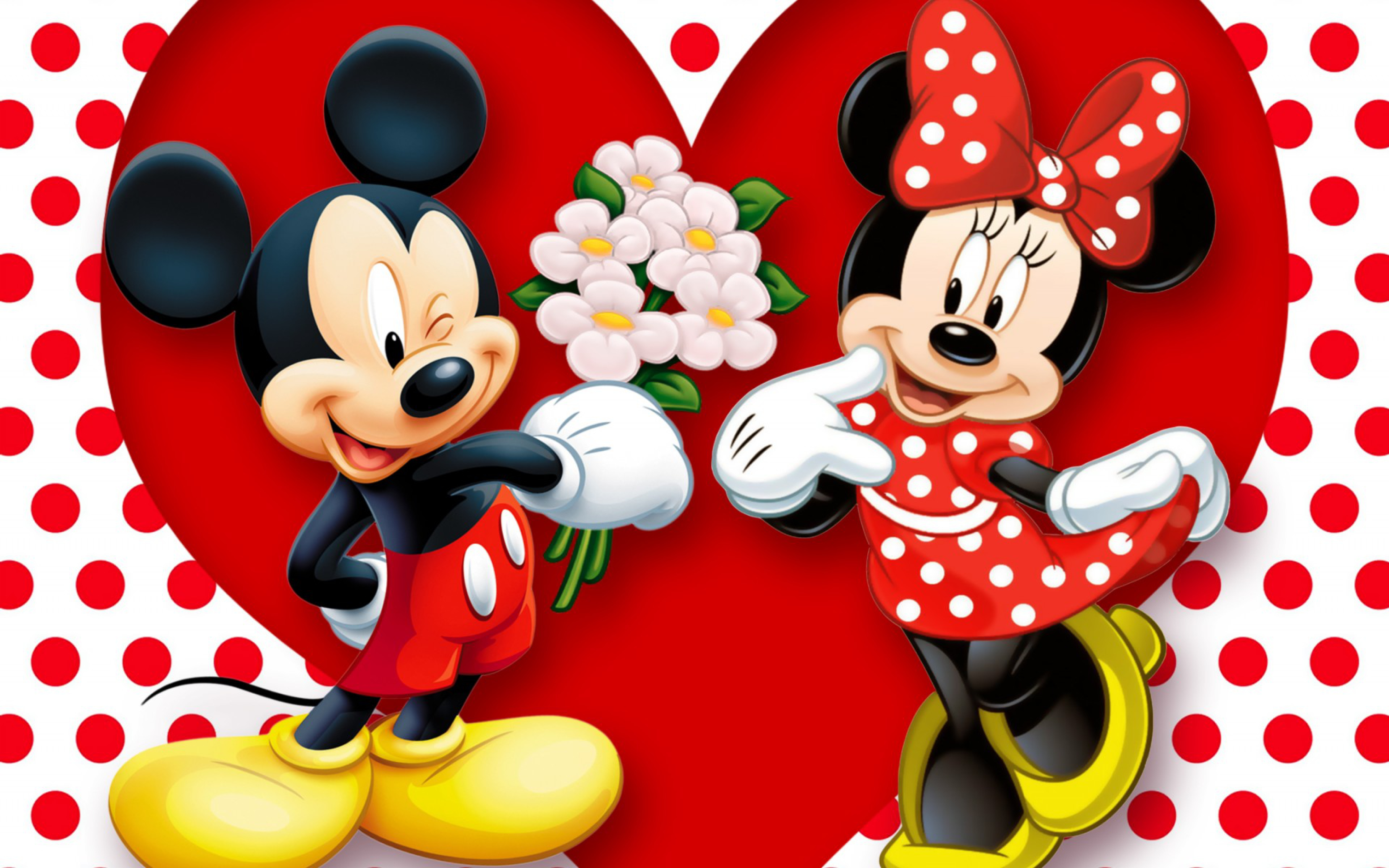 Background Mickey Mouse And Minnie Mouse Love Couple Heart Wallpaper 3840x2400