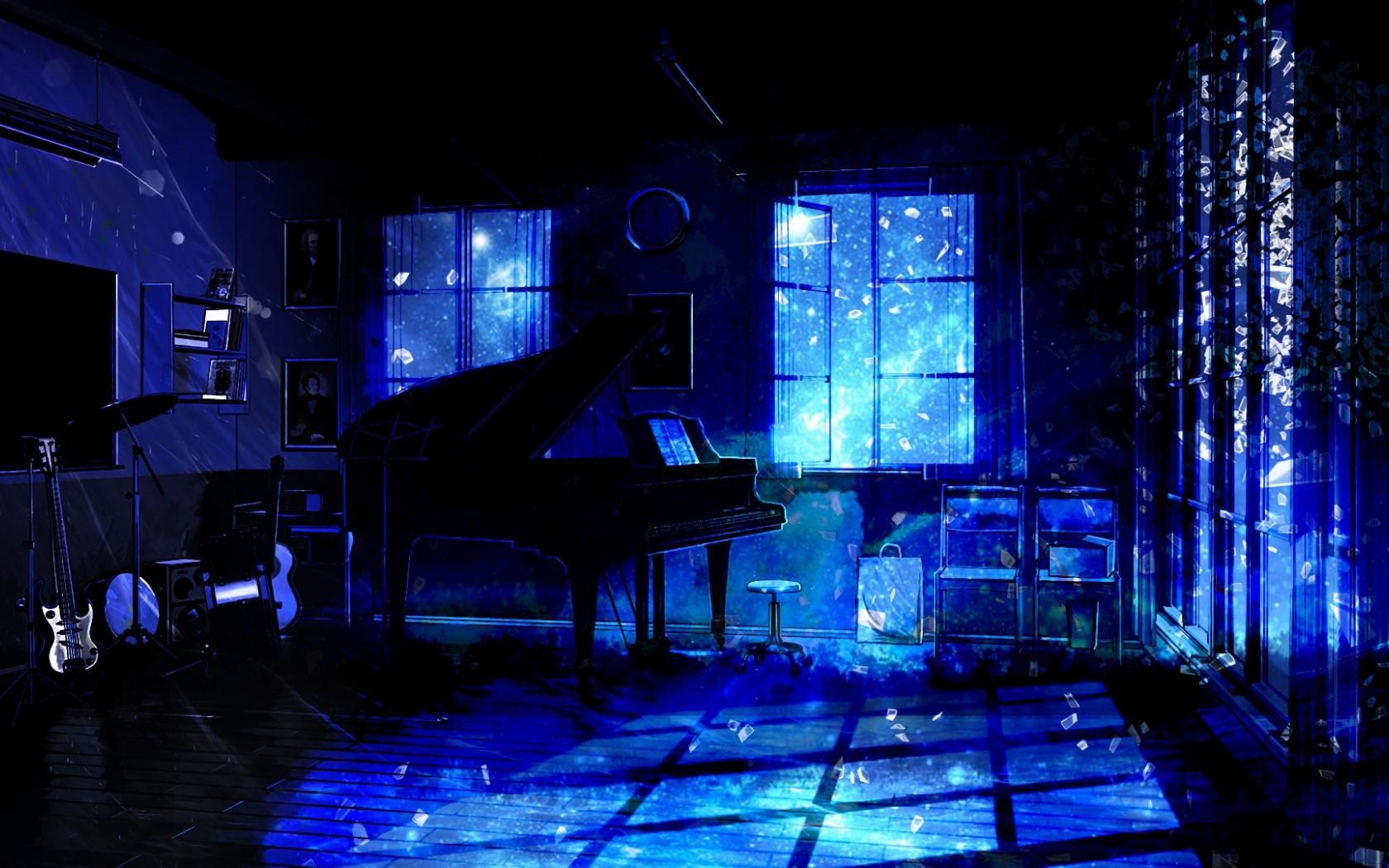 Download Music room piano anime original dark wallpaper 1680x1050