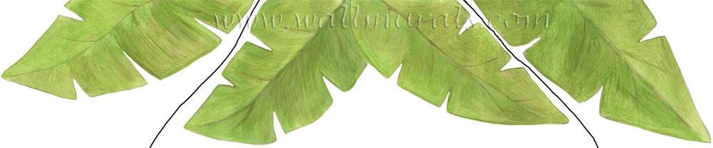 Banana Leaf Wall Decals   Leaf Border 1000x208