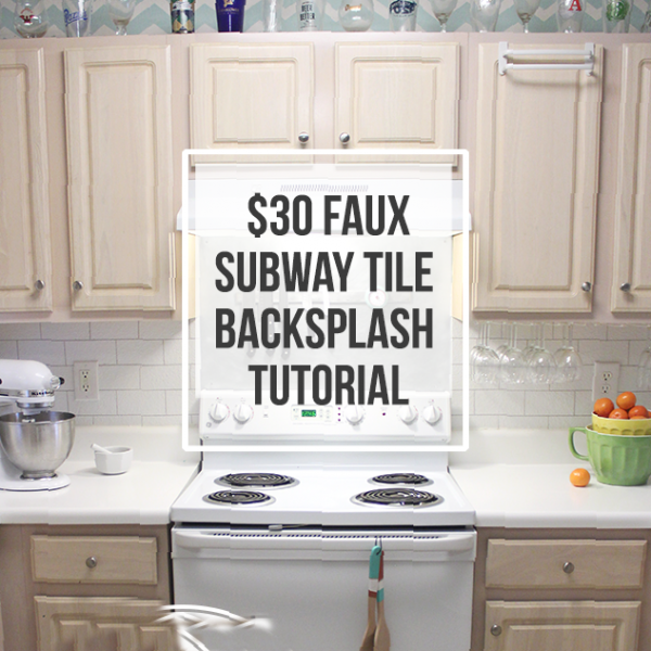 Faux Subway Tile Wallpaper Backsplash Tutorial 600x600