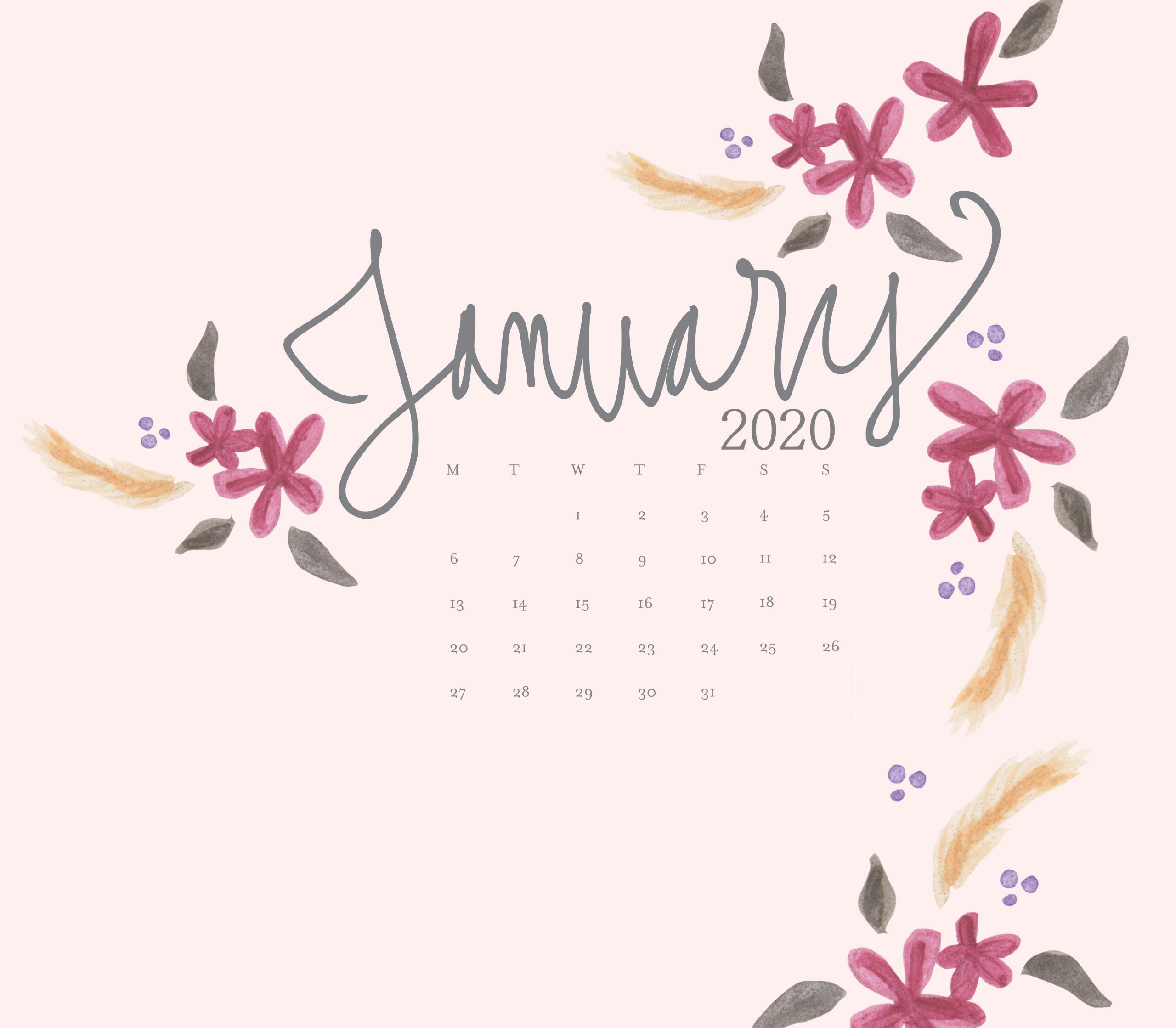 January 2020 Desktop Calendar Wallpaper Max Calendars 2560x2238