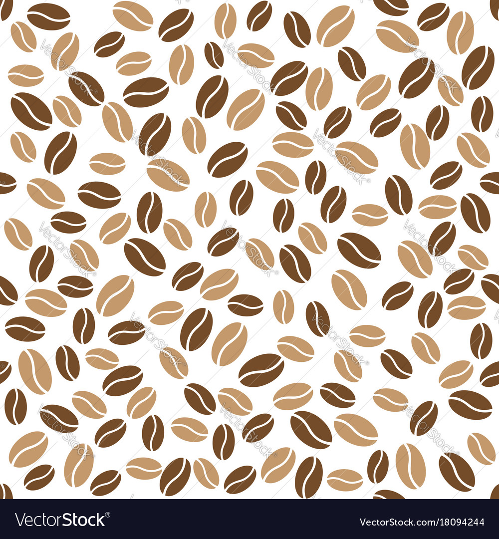 Abstract coffee beans pattern white background Vector Image 1000x1080